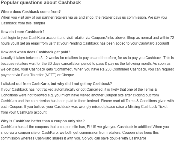 Popular Questions Cashback